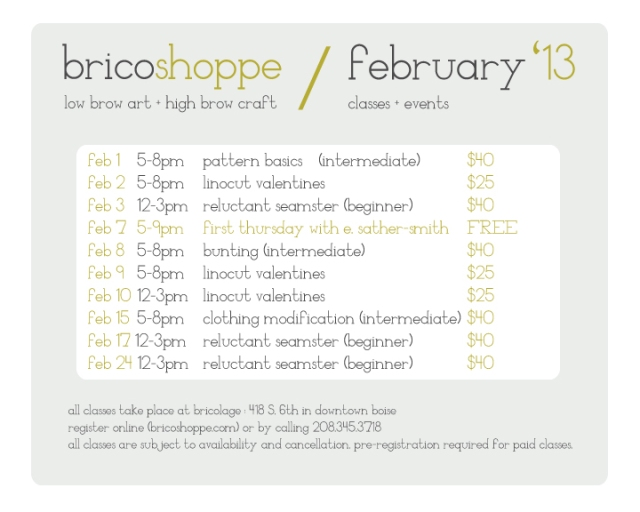 February classes + events!