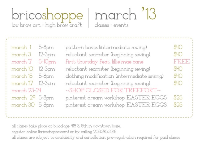 March classes + events